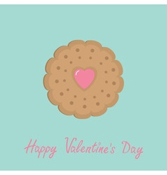 Biscuit cookie cracker with pink heart Happy vector