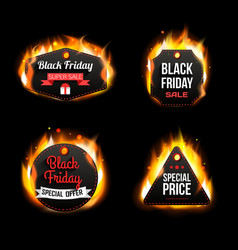 Black Friday Sale fire badges and labels vector