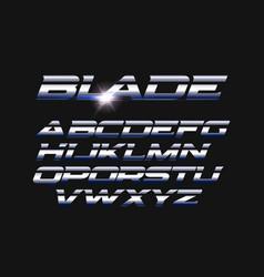 Blade letters set slashed alphabet vector