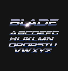Blade letters set slashed alphabet with vector