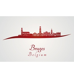 Bruges skyline in red vector