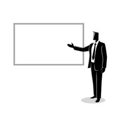 businessman giving a presentation on white board vector image
