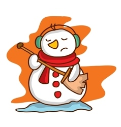 Cartoon snowman with headphone happy vector image