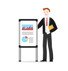 Cartoon startup businessman shows presentation vector