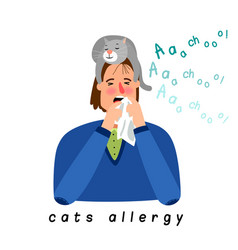 Cat allergy woman vector