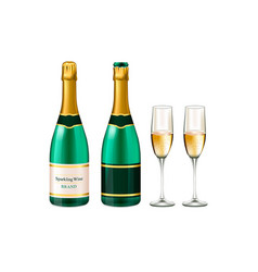 Champagne bottles and champagne glasses vector