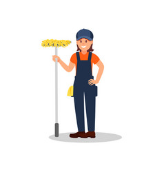 cheerful woman standing with mop cleaning company vector image