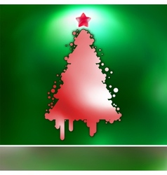 Christmas Tree on green card EPS 8 vector