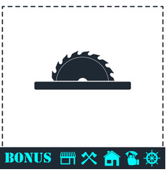 Circular saw blades icon flat vector