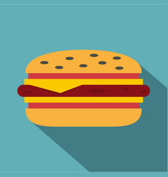 Classic cheeseburger icon flat style vector