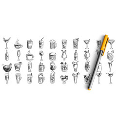 cocktails doodle set vector image