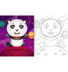 Coloring book for kids with a cute panda vector