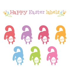 concept set happy easter bunnies labels vector image