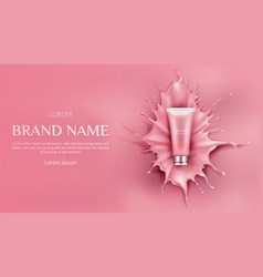 Cosmetics bottle mockup beauty cosmetic product vector