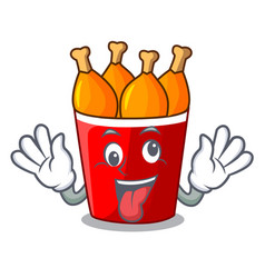 Crazy fried chicken bucket isolated on mascot vector