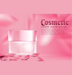 cream jar cosmetic products ad with pink petal vector image