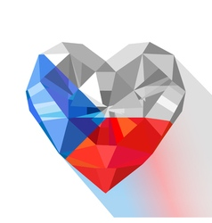 Crystal gem jewelry heart of the Czech Republic vector