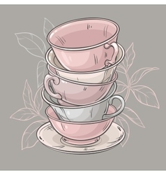 Cups on grey background vector
