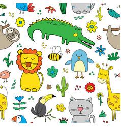 cute animals seamless pattern cartoon hand drawn vector image