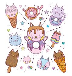 cute desserts and icecreams cartoons vector image