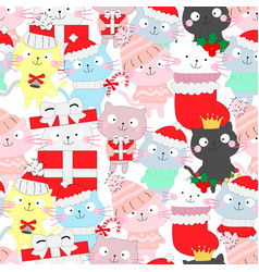 cute funny cat seamless cartoon pattern vector image