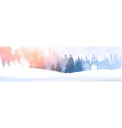day in winter forest glowing snow under sunshine vector image