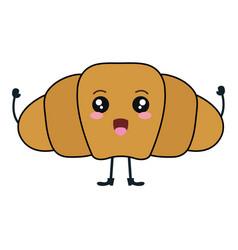 delicious croissant bread kawaii character vector image