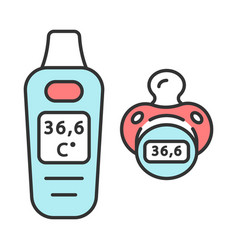 Digital pacifier thermometer color icon vector