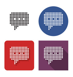 Dotted icon speech bubble in four variants vector