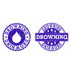 drowning grunge stamp seals vector image