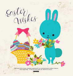 Easter greeting card with cute bunny flower basket vector