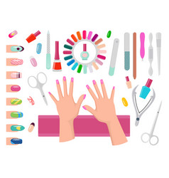 Female hands with pink nails and manicure tools vector