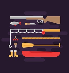 Fishing and Hunting Tourism Concept Set of Flat vector