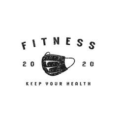 Fitness emblem for t-shirt vector