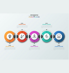 five separate dissected circular elements with vector image
