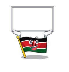 Flag kenya up board cartoon with character happy vector