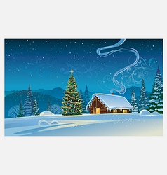 Forest house with the Christmas tree vector image