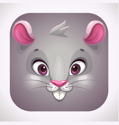 Funny gray mouse face cartoon app icon for game vector