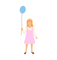girl with balloon in hands isolated child toy vector image