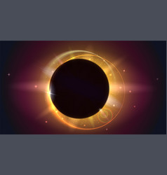 glow light effect the planet covering the sun in vector image