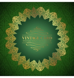Golden damask circle vector