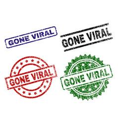 Grunge textured gone viral seal stamps vector