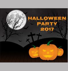 halloween pumpkins on blue moon background vector image
