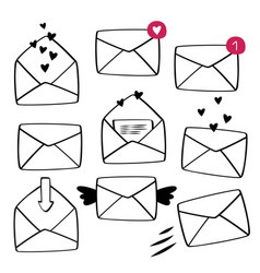 Hand drawn envelope set mail collection vector