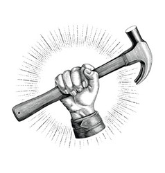 Hand holding hammer vintage clip art for vector