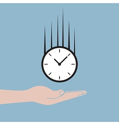 hand holding time clock falling vector image