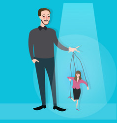 Hands of man control puppet concept of leadership vector