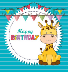 happy birthday card with cute giraffe vector image