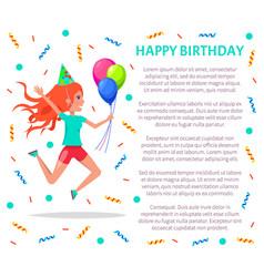Happy birthday poster teenage girl in festive hat vector