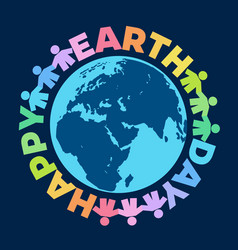 happy earth day poster hand drawn vector image